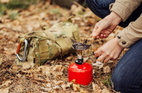 Camper using gas cannister