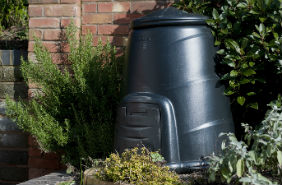Photo of a home compost bin