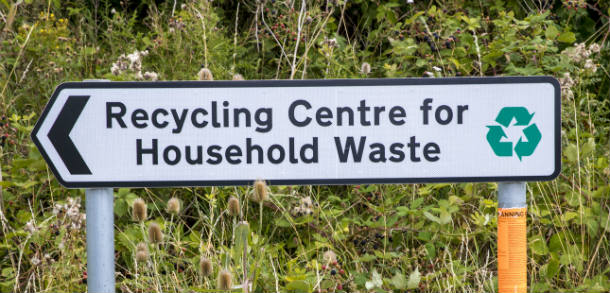 Sign of recycling centre for household waste