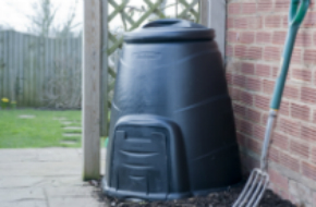 Compost bin and fork